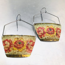 Load image into Gallery viewer, Vintage Flowers Zero Waste Tin Earrings