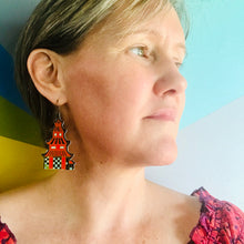 Load image into Gallery viewer, Bright Red Pagodas Upcycled Tin Long Fans Earrings