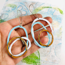 Load image into Gallery viewer, White, Soft Blue, Aged Persimmon Scribbles Upcycled Tin Earrings
