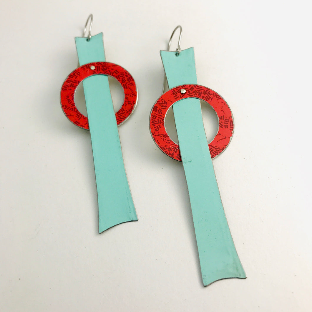 Mod Aqua Red Orbit Upcycled Tin Earrings