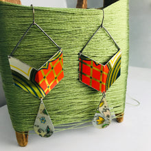 Load image into Gallery viewer, Chevron Dangles Recycled Tin Earrings