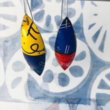 Load image into Gallery viewer, Britto Long Pods Upcycled Tin Leaf Earrings