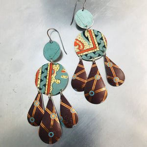 Chocolate and Mixed Aquas Zero Waste Tin Chandelier Earrings