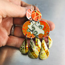 Load image into Gallery viewer, Mixed Vintage Oranges Zero Waste Tin Chandelier Earrings
