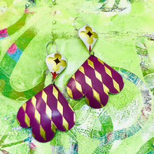 Load image into Gallery viewer, Golden Harlequins on Plum Trefoil Upcyled Tin Earrings