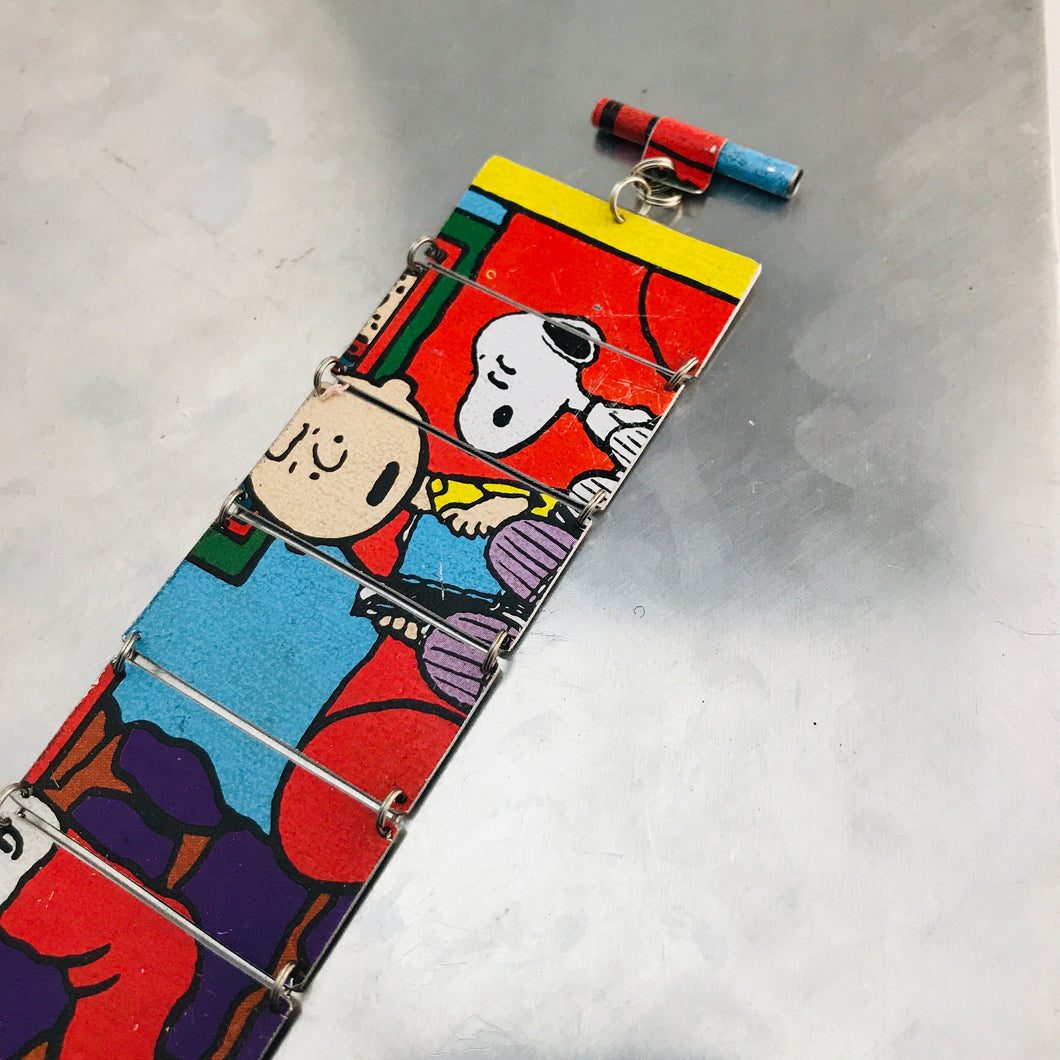 RESERVED Charlie Brown & Snoopy Upcycled Tin Bracelet