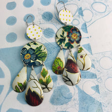 Load image into Gallery viewer, Green Leaves & Flowers in White Zero Waste Tin Chandelier Earrings