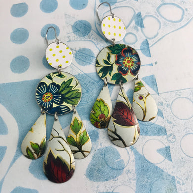Green Leaves & Flowers in White Zero Waste Tin Chandelier Earrings