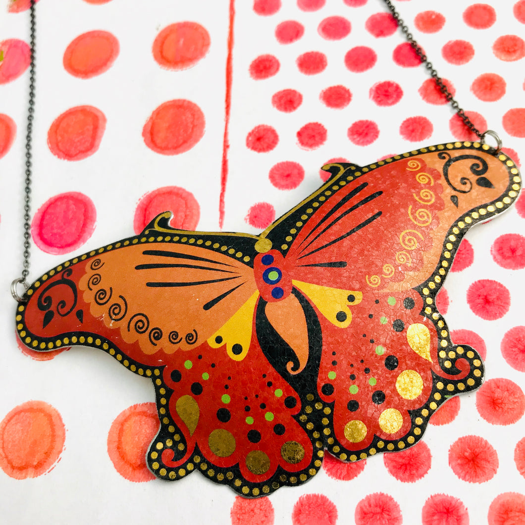 Big Orange Butterfly Upcycled Tin Necklace Tin Anniversary Gift