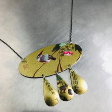 Load image into Gallery viewer, Kingfisher on Shimmery Gold Zero Waste Tin Chandelier Necklace