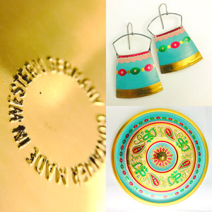 Vintage Aqua Circle Upcycled Tin Necklace