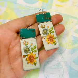 Vintage Flowers & Turquoise Recycled Tin Earrings 30th Birthday Gift