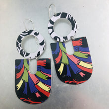 Load image into Gallery viewer, Mixed Blacks Chunky Horseshoes Zero Waste Tin Earrings