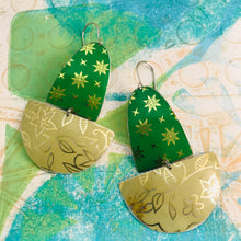Load image into Gallery viewer, Paris Green & Golds Upcycled Tin Boat Earrings