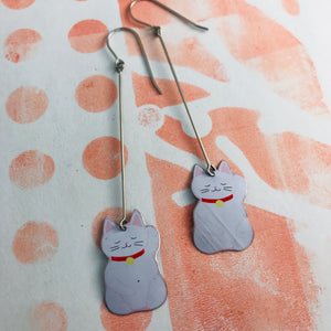 Little Lucky Cats Upcycled Tin Earrings