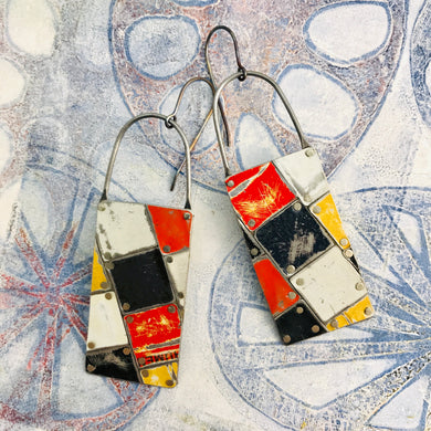 Black, White, Red & Pops of Yellow Tesserae Arched Wire Tin Earrings