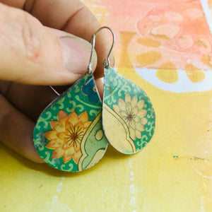 Big Blossoms on Green Upcycled Teardrop Tin Earrings