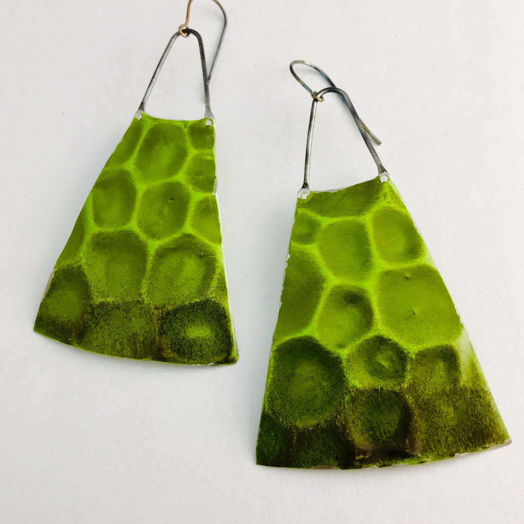 Sap Green Textured Upcycled Vintage Tin Long Fan Earrings