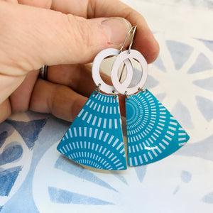 Turquoise Radial Pattern Small Fans Zero Waste Tin Earrings