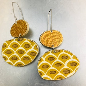 Book Pebbles Mixed Goldenrod Patterns Recycled Book Cover Earrings