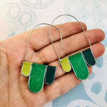 Load image into Gallery viewer, Mixed Greens Arched Upcycled Tin Dangle Earrings