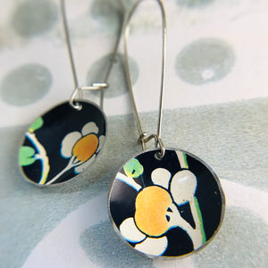 White Cherry Blossoms on Midnight Medium Basin Upcycled Tin Earrings