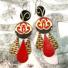 Load image into Gallery viewer, Dashed Brown & Red Dots Tin Chandelier Earrings