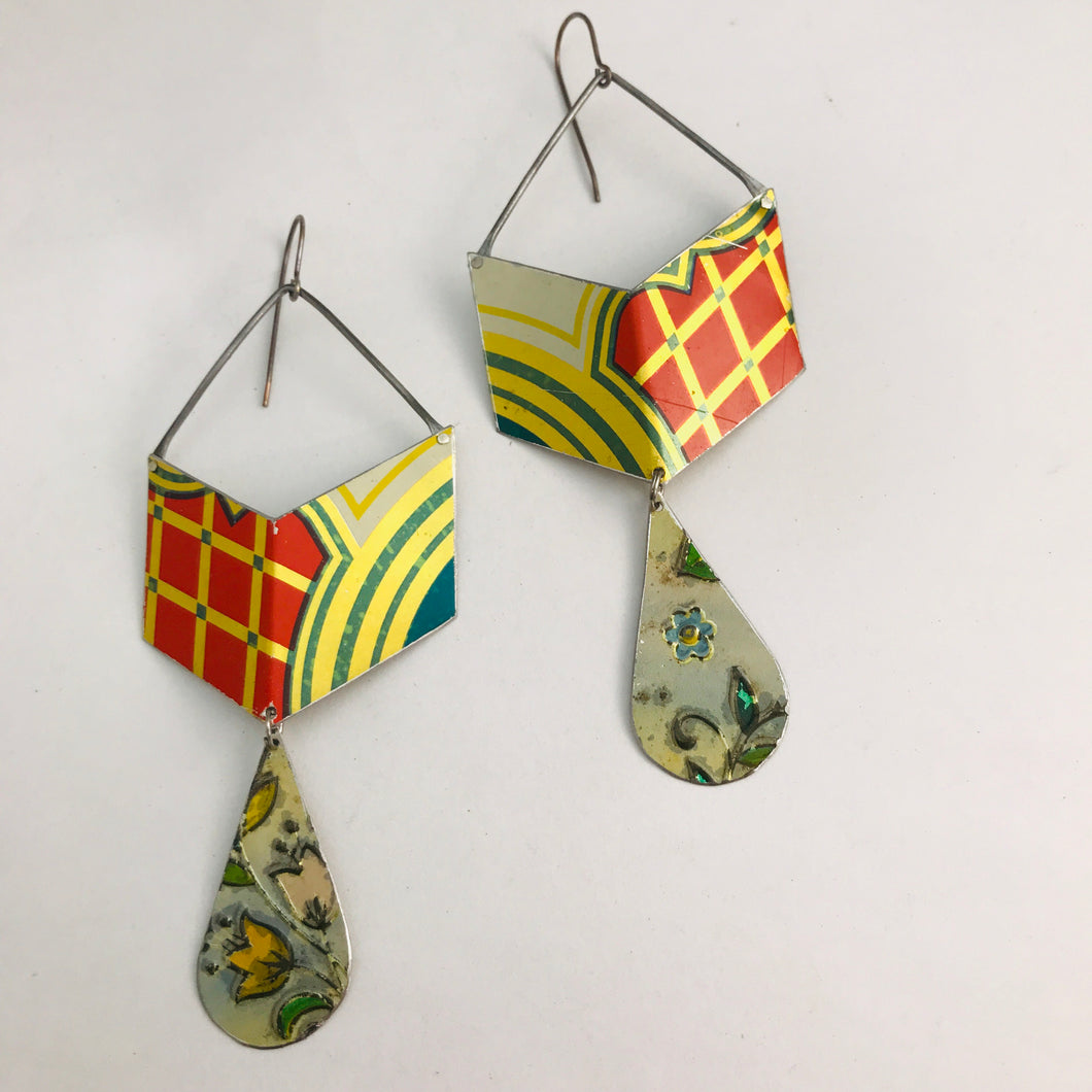 Chevron Dangles Recycled Tin Earrings