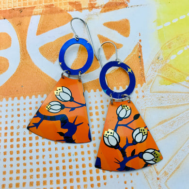 Blossoms at Sunset Small Fans Zero Waste Tin Earrings