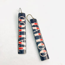 Load image into Gallery viewer, Tattoo Typography Long Narrow Tin Earrings