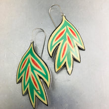 Load image into Gallery viewer, Vintage Stylized Leaves Upcycled Tin Earrings