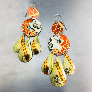 Mixed Vintage Oranges Zero Waste Tin Chandelier Earrings