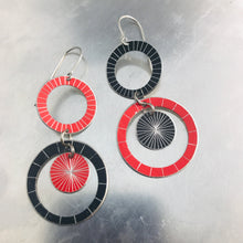 Load image into Gallery viewer, Black & Red Silver Starburst Multi Circles Upcycled Tin Earrings