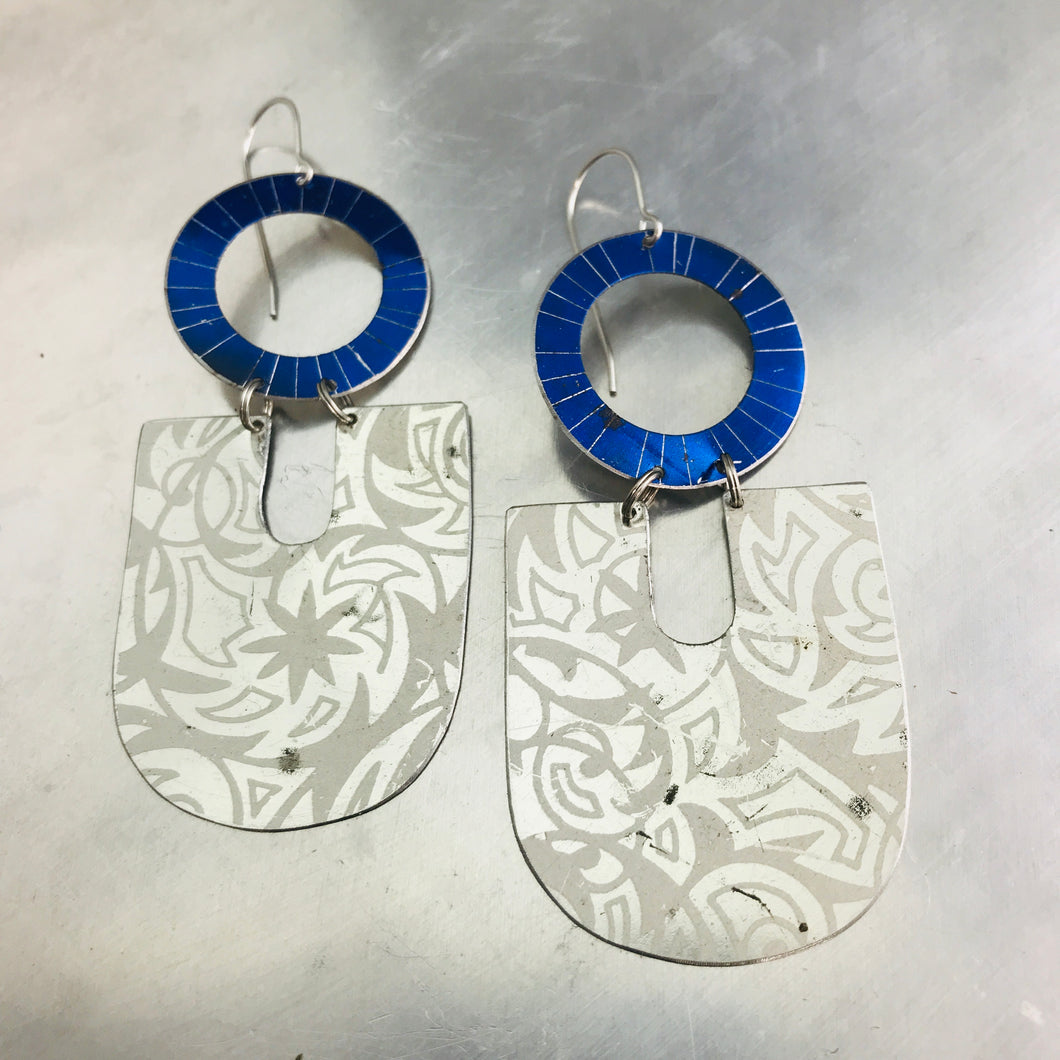 Silver Damask Chunky Horseshoes Zero Waste Tin Earrings