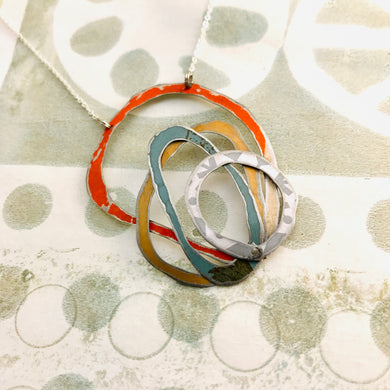 Orange, Gold, Slate & Gray Scribbles Upcycled Tin Necklace