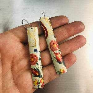 Red Blossoms & Golden Filigree Narrow Rectangle Tin Earrings