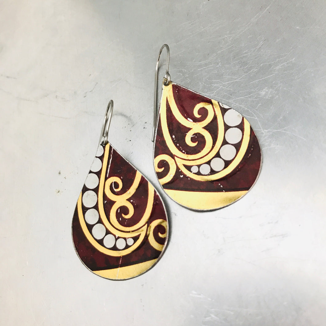 Dotted Spirals on Maroon Upcycled Teardrop Tin Earrings