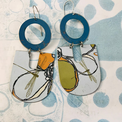 Dragonflies on Blue Chunky Horseshoes Zero Waste Tin Earrings
