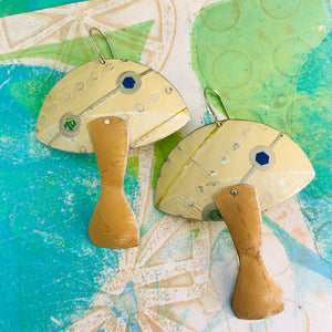 Groovy Cream Mushrooms Zero Waste Tin Earrings