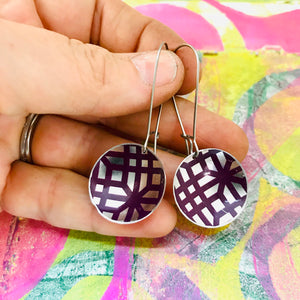 Purple Lattice on Silver Medium Basin Earrings