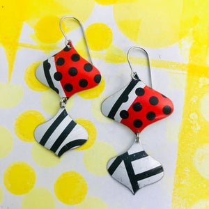 Black and White and Red Mixed Pattern Rex Ray Zero Waste Tin Earrings