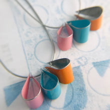 Load image into Gallery viewer, Persimmon, Aqua & Pink Multi U Hoop Upcycled Tin Earrings