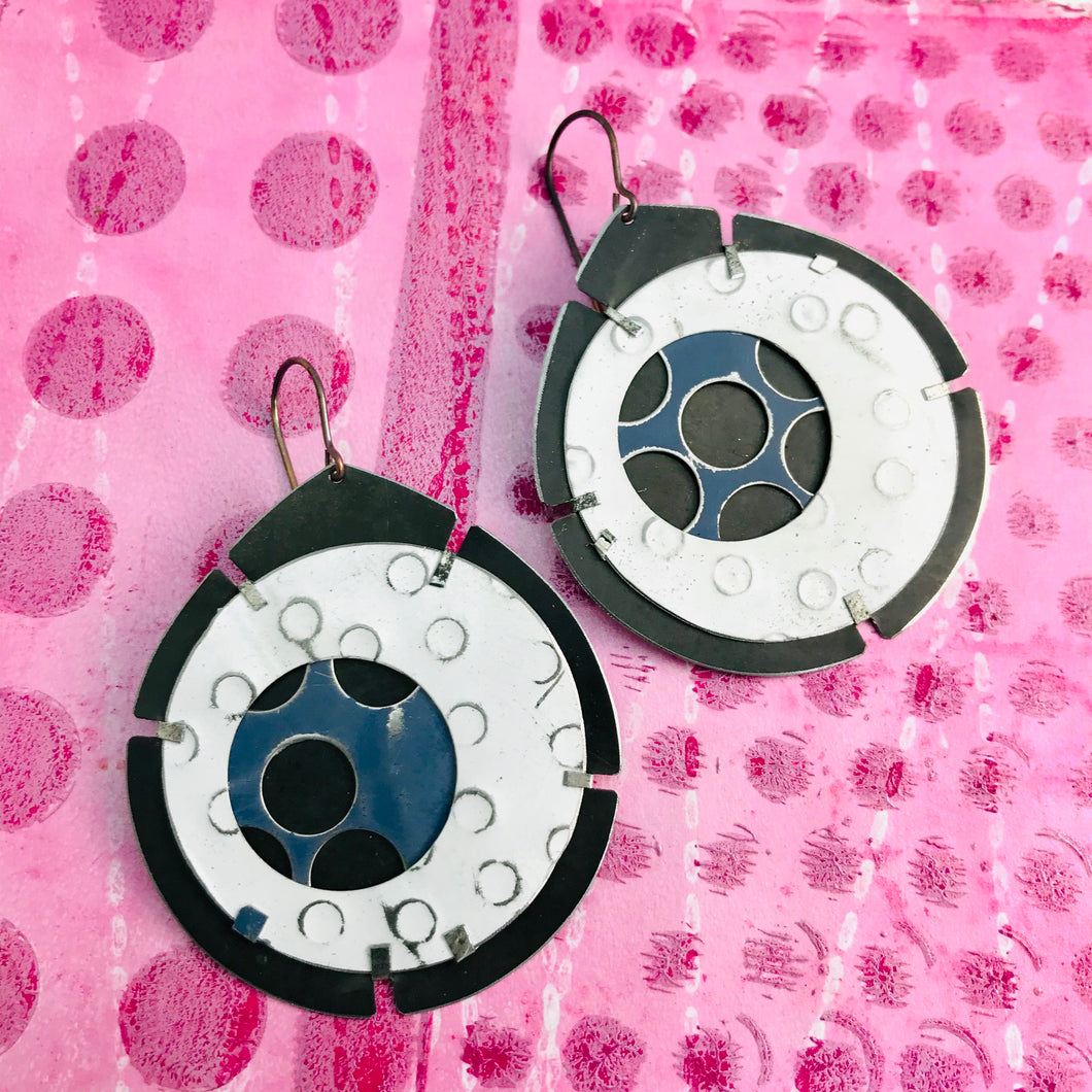 Encircled Blue-Gray in White Upcycled Tin Earrings