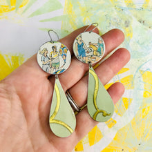 Load image into Gallery viewer, Kite Flying & Picnics Upcycled Tin Long Teardrop Earrings