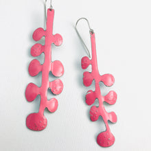 Load image into Gallery viewer, Happy Bubblegum Pink Matisse Leaves Upcyled Tin Earrings