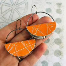 Load image into Gallery viewer, Persimmon Half Moon Saddle Zero Waste Tin Earrings