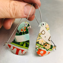 Load image into Gallery viewer, Green Biscotti Birds on a Wire Upcycled Tin Earrings