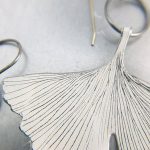 White Gingko Leaves Recycled Tin Earrings