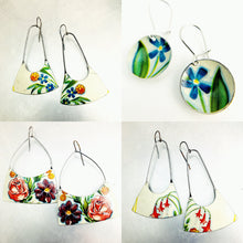 Load image into Gallery viewer, Fireworks Flowers on White Recycled Tin Earrings
