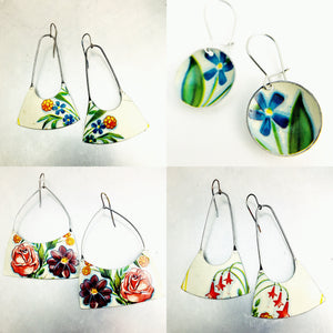 Fireworks Flowers on White Recycled Tin Earrings